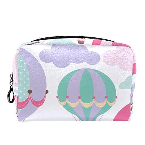 TIZORAX Cosmetic Bag Make-up Bag Organizer Met Kleurrijke Cartoon Hot Air Balloon Ontwerp