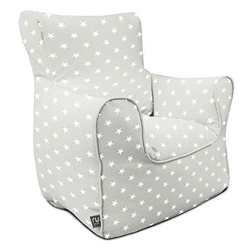 rucomfy Beanbags Indoor Toddler Stars Armchair Bean Bag Chair. Machine Washable. Comfortable & Durable 45 x 45 x 52cm (Platinum)