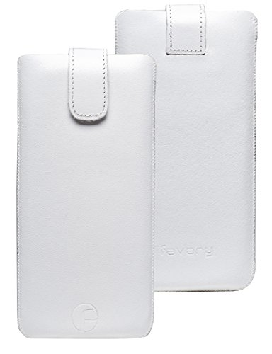 Original Favory Etui Tasche für / Primo 215 by Doro / Leder Etui Handytasche Ledertasche Schutzhülle Hülle Hülle Lasche *mit Rückzugfunktion* Weiss