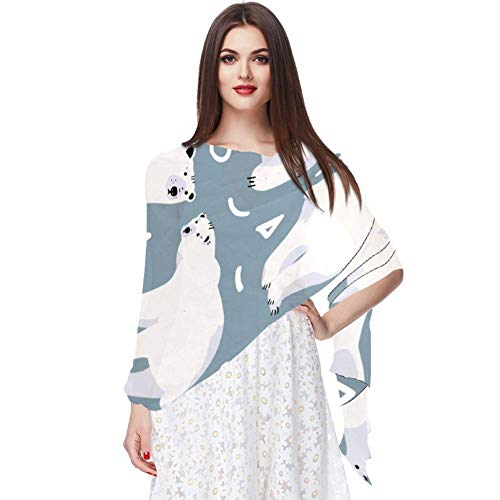 Lindo Ours Polaire Animal Écharpe Infinity Lightweight Long Sheer Wrap Shawl for Women