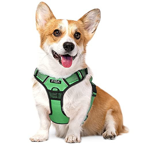 Fida Dog Harness Full Reflective Design, No-Pull Pet Vest Harness with 2 Leash Clips, Adjustable Soft Padded with Easy Control Handle for Medium Dogs(M, Green)