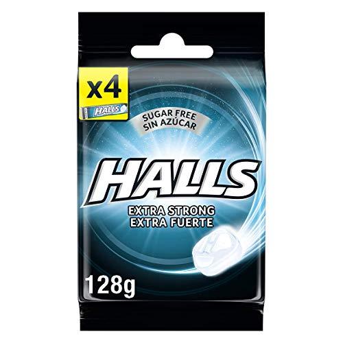 Halls Extra Fuerte Caramelos Duros Sabor Eucalipto sin Azúcar, 4 x 32g