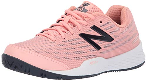 New Balance Women's 896 V2 Hard Court Tennis Shoe, White Peach/Pigment, 5 B US