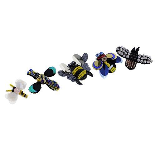 MagiDeal Set Bienen-Libelle Rhinestone Aufnäher Stickerei Flicken Patches Applikation Kleidung Patches für T-Shirt Jeans Kleidung Taschen - Multi3, 5pcs 3~6 cm