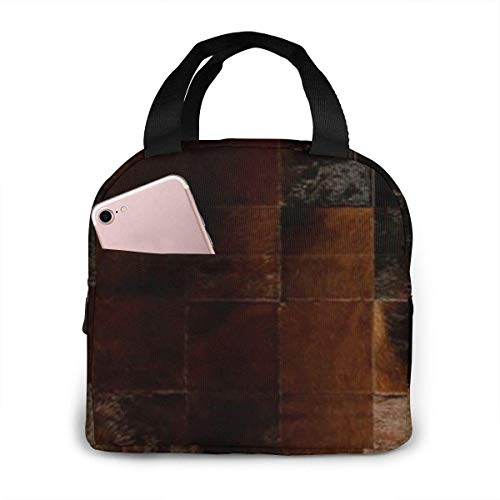 Cowhide Patchwork Insulated Lunch Bag, Big Capacity Lunch Cooler Tote Bag for Outdoor Picnic School Office Work, Portable