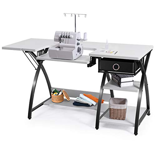 Costway Adjustable Sewing Craft Table with Drawer, Multifunction Crafting Machine Desk with Storage, Sturdy Computer Desk with White Finish, Ideal for Home Indoor