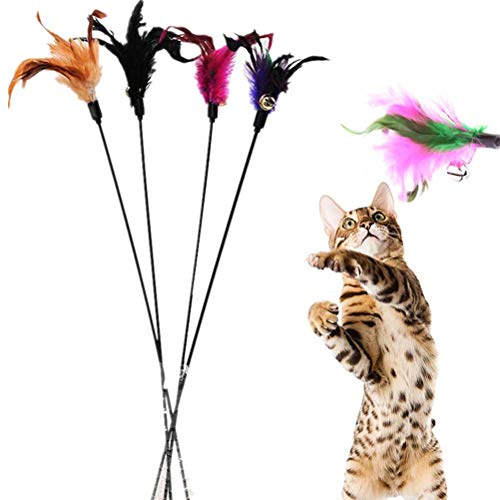 Demarkt 4X Katzenangel Federwedel Katzenspielzeug mit Glocke Katze Spielzeug mit Federn zufällige Farbe 60cm (4 Stück)