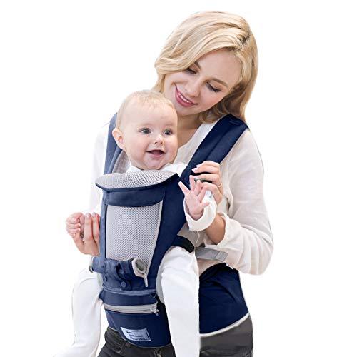 Portabebés ergonómico delantero y trasero con asiento para la cadera y bolsa de almacenamiento Cómoda envoltura infantil para honda con malla fresca y amortiguador grueso(Azul marino)