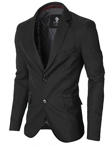 MODERNO - Slim Fit Business Herren Sakko Blazer (MOD14514B) Schwarz EU XL