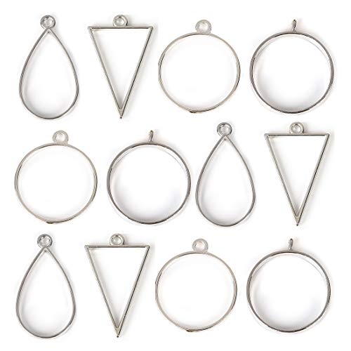 DROLE 40Pcs Antique Silver Open Back Bezel Pendants Assorted Geometric Hollow Frame Pendant Blanks for DIY Resin Crafts
