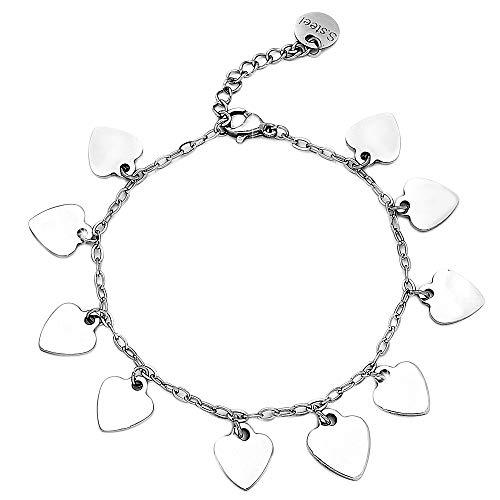 Beloved Bracciale da donna in acciaio essecial con stelle o cuori vari colori - braccialetto con misura regolabile con charm e ciondoli pendenti (Cuori silver)
