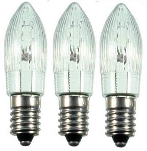 3x Ersatzlampen (EGB) Topkerzen geriffelt für außen 14V, 3W, E10