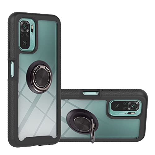 JIAFEI Funda para Xiaomi Redmi Note 10 4G/Note 10S Antigolpes Dura Carcasa Transparente PC/TPU Silicona Protección con 360 Grados Anillo iman Soporte, Negro