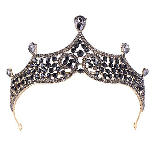 Brautkrone Vintage Barock Gotik Braut Tiara Hochzeit Krone mit schwarzen Strass Perlen für Braut...