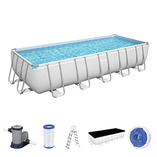 Power Steel Frame Pool Komplett-Set, eckig, mit Filterpumpe, Sicherheitsleiter & Abdeckplane 640 x 274 x 132 cm