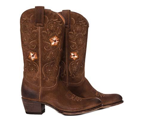 Sendra Boots Bota Bordados Serraje Usado 14470 Debora