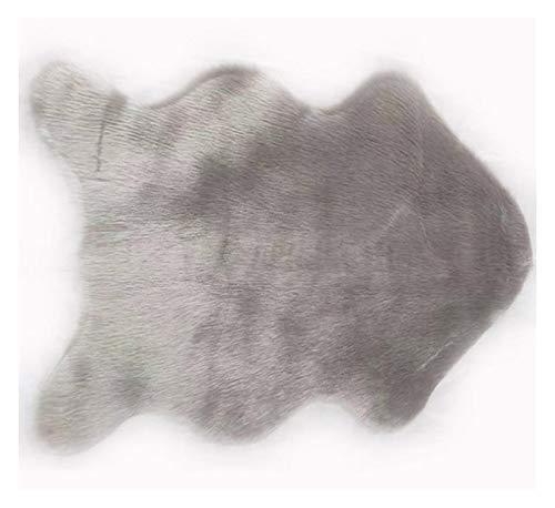 JDJD Carpet Faux Fur Sheepskin Rug Faux Fleece Chair Cover Seat Cushion Soft Home Decor (Color : Light Grey, Size : 400MMx600MM)