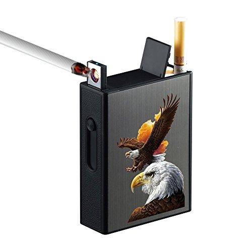 タバコケース 20本収納 USB充電式 ライター ポケット 無炎 防風 電子ライター 火が出ない ガス・オイル不要シガレットケース (黒 鷹)