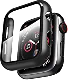 Smiling Case Compatible with Apple Watch Series 6/SE/Series 5/Series 4 44mm with Built in Tempered Glass Screen Protector- All Around Hard PC Case Overall Protective Cover (Black)