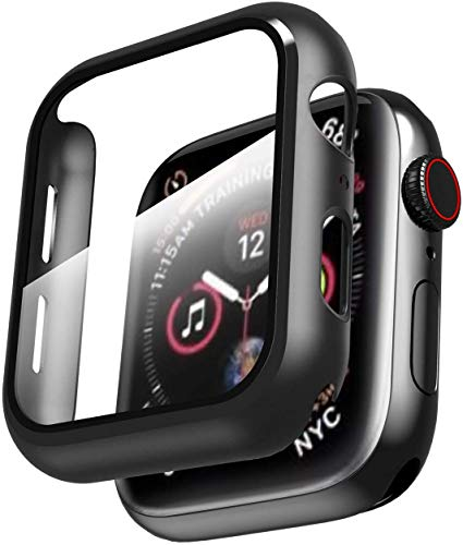 Smiling Case Compatible with Apple Watch Series 6/SE/Series 5/Series 4 44mm with Built in Tempered Glass Screen Protector ,Overall Protective Hard PC Case Ultra-Thin Cover- Black