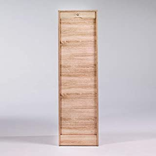 SIMMOB - Classeur à Rideau Hauteur 140 cm Largeur 41 cm - Coloris - Chêne Naturel