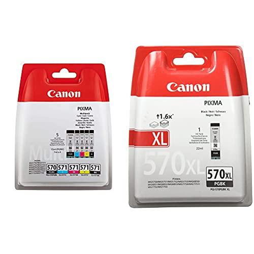 Canon PGI-570+CLI-571 5 Cartuchos Multipack de Tinta Original PGBK/BK/C/M/Y para Impresora de Inyeccion de Tinta Pixma + PGI-570XL Cartucho de Tinta BK para Impresora de Inyeccion Pixma