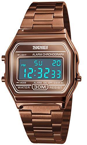 Topsale-ycld Luxus Business Uhr 30M wasserdichte Edelstahl Sportuhr Digital Armbanduhr Uhr Kaffee Gold