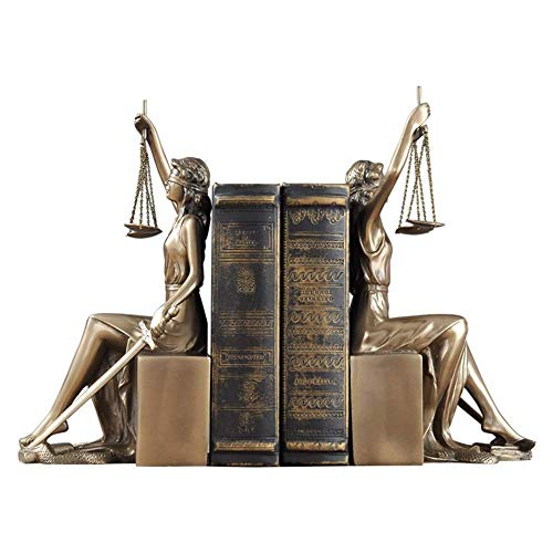 Lady Scales of Justice Statue,Roman Goddess Bookends Resin Figurine Great for Lawyer Attorney Judge Sculpture,Bronze Finish-Golden 11x13.5x26cm(4x5x10inch)