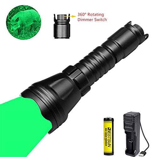 LUXJUMPER Jagd Taschenlampe, 1000 Lumen Dimmbares LED-Jagdlicht mit Intensitätsregelung Rheostat-Schalter Zoombares Predator-Licht Wasserdichte taktische Taschenlampe für Hog Fox Coyote (Grünes Licht)