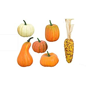 Thanksgiving Decorations – Artificial Pumpkins – Craft Package of 6 Artificial Fall Pumpkins Gourds and Corn – Fall Crafts