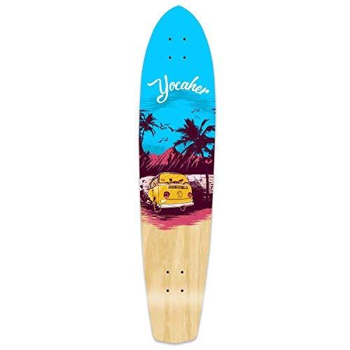 Yocaher VW Vibe Beach Series Skateboard Longboard Slimkick Deck Only – Blue