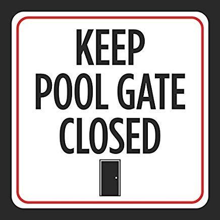 Vivityobert Señal de advertencia de metal de diamante con texto en inglés «Keep Pool Gate Cerrado» para pared de casa, 30,5 x 30,5 cm