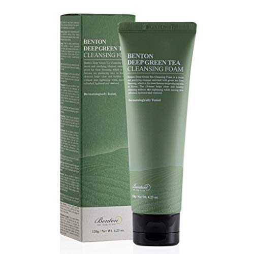 BENTON Deep Green Tea Cleansing Foam 120g (4.23 oz.) - Pore Tightening & Purifying Facial Foam Cleanser for Oily and Sensitive Skin, Smooth Finish without Irritation