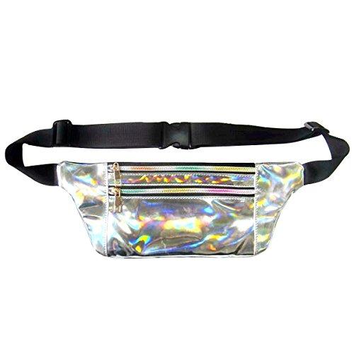 Dolores Hologramm-Laser-Tasche, schmale Bauchtasche, modisch, PU, wasserfest, Silber