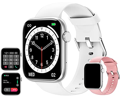 feifuns Smart Watch with Call(Answer Make Call) IP67 Waterproof Fitness Tracker Heart Rate Blood Pressure Oxygen SpO2 Sleep Step Calorie Count Smart Watches for Men Women for Android iOS Phone (White)