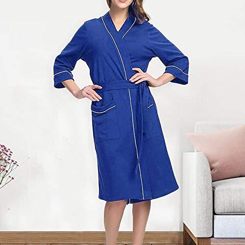MMWW Bademantel Frauen warme Robe Femme Frauen Winter Plüsch verlängerte Schal Bademantel Home Kleidung Langarm Robe Mantel Brautkleid-Himmelblau_XXXL