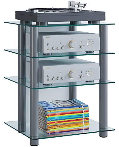 VCM Hifi Möbel Rack Phono Turm Medienrack Medienmöbel Regal Tisch Aluminium Glas Silber / Klarglas Farbwahl