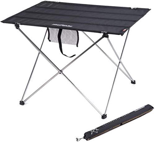 Knoijijuo Acampar Mesa Plegable de Aluminio de jardín Mesa Plegable Mesa de Picnic hasta 30 Kg de Aluminio Mesa de Soporte de Carga Ideal de la Mesa Plegable para Exterior,Table * Black,L