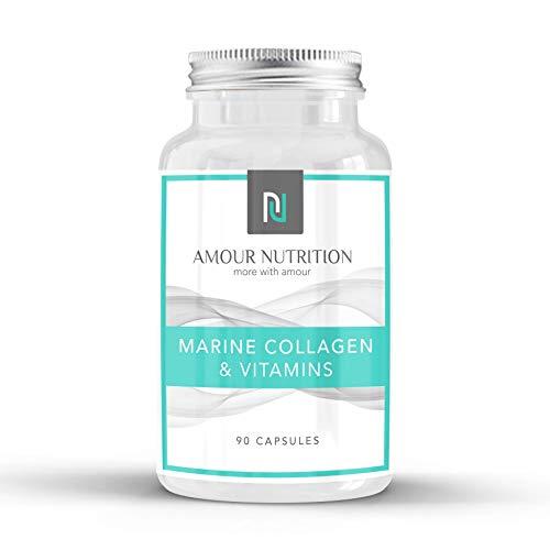 Marine Collagen & Vitamins, Wrinkles, Hair, Skin, Nails, Bones, Joints, Vitamin C, Vitamin B3, UK Made, Quality Assured