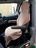 Autoschonbezüge, Sitzbezüge, Wohnmobilbezüge, Einzelsitzbezüge aus 100% Baumwolle mit Klettverschluß, universal als Überwurf, Ideal für Sportler, Camper (beige)