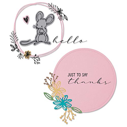 Sizzix Set di Fustelle Framelits con timbri Hello Mouse di Lisa Jones, Multicolore, Taglia Unica