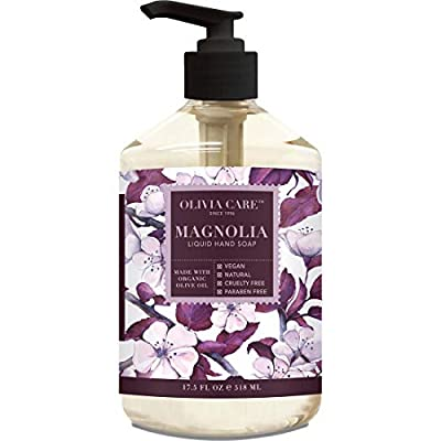 Liquid Hand Soap By Olivia Care. Magnolia & Essential Oils. All Natural - Cleanse, Germ-Fighting, Moisturize Hand Wash for Kitchen & Bathroom - Gentle, Mild & Natural Scented - 18.5 OZ