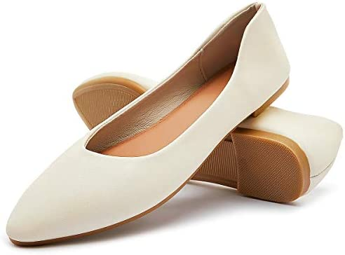 FRACORA Women s Pointy Toe Ballet Flats Casual Soft Slip on Flats Comfortable Leather Dress product image