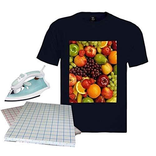 20 Blatt Transferpapier DIN A4 (297 x 210 mm) zum Aufbügeln von T-Shirts für dunkle Stoffe Inkjet-Drucker Transferpapier
