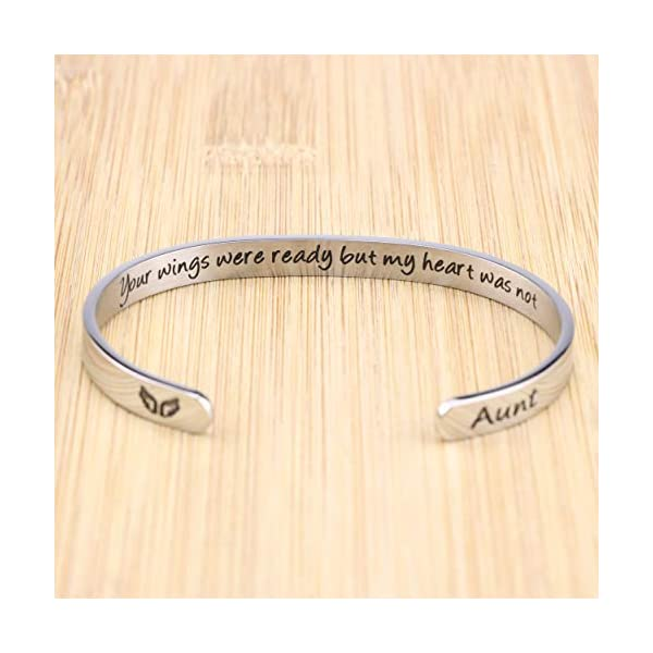MEMGIFT Memorial Bracelets Women, Sympathy Gifts Cuff Loss of Dad Mom Daughter Son Remembrance Condolence Encouragement Engraved Jewelry Remember Her Your Wings were Ready But My Heart was Not