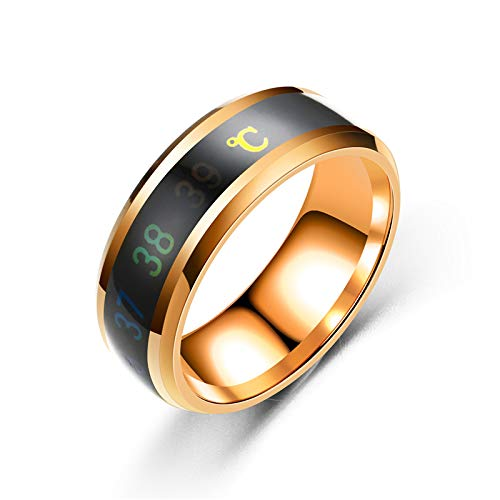 GUOYIHUA Temperatur Paar Ringe,1PC Edelstahl Ring Smart Temperatur Paar Display Ring Ehering Size Diameter 20mm (Rose Gold)