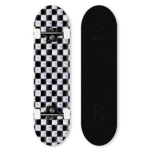Skateboard 31X8 Zoll Standard Skateboard ABEC-11 Lager ist für Kinder, Jugendliche und Erwachsene 7-lagiges Ahorn Skateboard geeignet-Schwarz-Weiß-Gitter