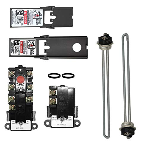 EWH-02 Electric Water Heater Tune-Up Kit, Water Heater Parts - Two 4500W 240V Heater Elements, Universal Upper Water Heater Thermostat, Lower Thermostat and Protective Covers. Fits Most brands