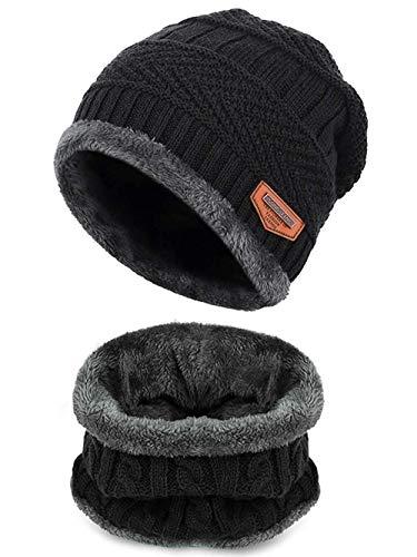 Aruny Wintermütze Mütze und Schal für Damen und Herren Strickmütze mit Fleecefutter Warme Beanie (Schwarz, Einheitsgröße)