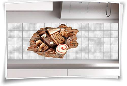Medianlux 3D tegelafbeelding tegelstickers chocolade bonbons marsepein lieve decoratie